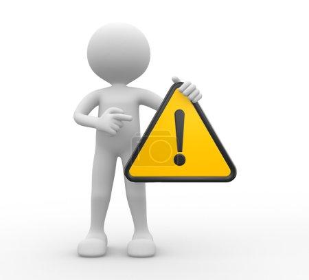 Photo pour 3d rendre l'illustration de la personne avec le signe d'avertissement - image libre de droit