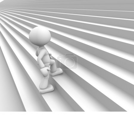 Photo for 3d render illustration of person climbing stairs - Royalty Free Image