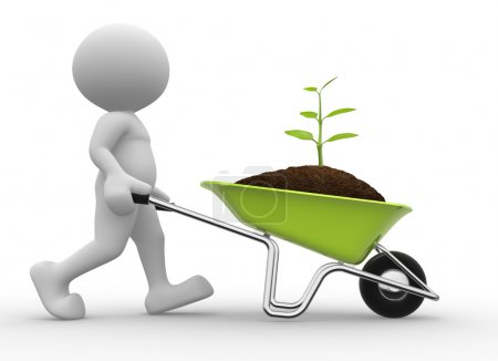 Photo for 3d man with a wheelbarrow and a seedling - Royalty Free Image
