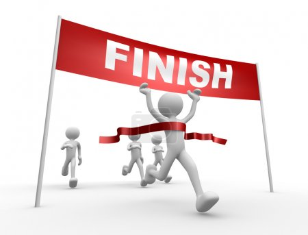 People and finish line