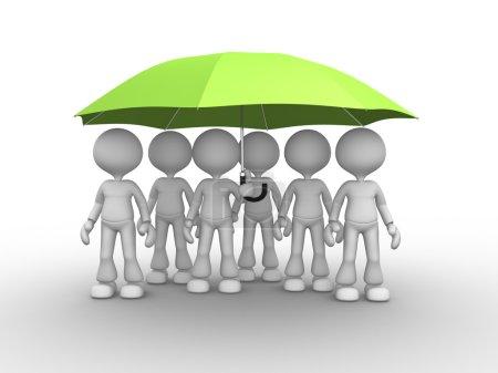 People under green umbrella