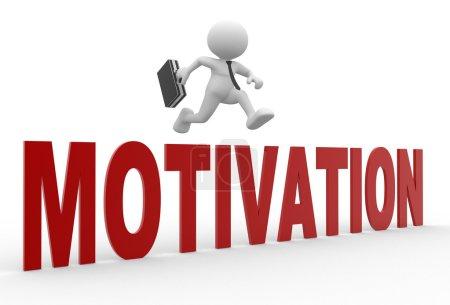 Businessman jumping over word motivation