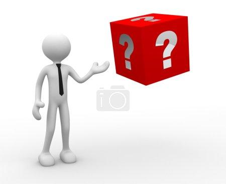 Foto de 3d representación ilustración de la persona y el cubo grande con signo de interrogación - Imagen libre de derechos