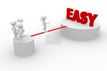 Photo for 3d render illustration of men walking on wire and Easy - Royalty Free Image