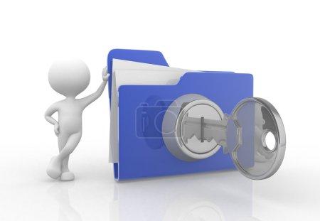 Photo pour Illustration de rendu 3D de personne avec gros dossier. Concept de sécurité - image libre de droit