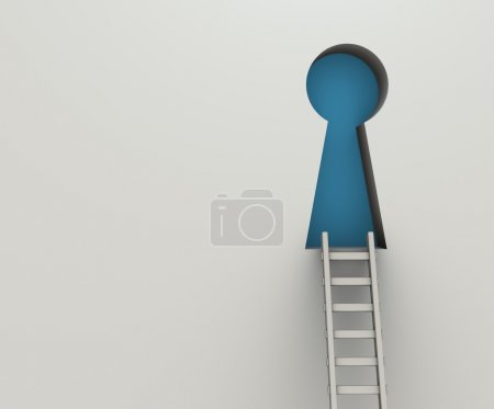 Photo for 3d render illustration of ladder to key hole. Concept of success - Royalty Free Image