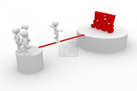 Photo for 3d render illustration of people walking on wire with text New Jobs - Royalty Free Image