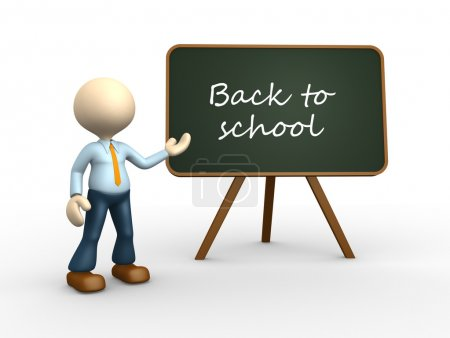 Photo for 3d render illustration of person with blackboard and text Back to school - Royalty Free Image