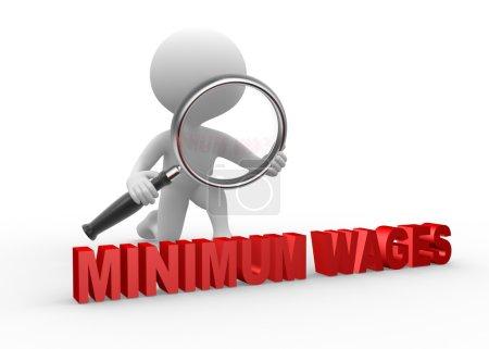 Foto de Personas 3D - hombre, persona con lupa analizar salario mínimo - Imagen libre de derechos