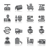 A collection of different kinds of logistics and transport icons