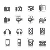 A collection of different kinds of photography and sound icons