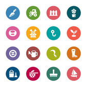 A collection of different kinds of agriculture and fisheries color icons