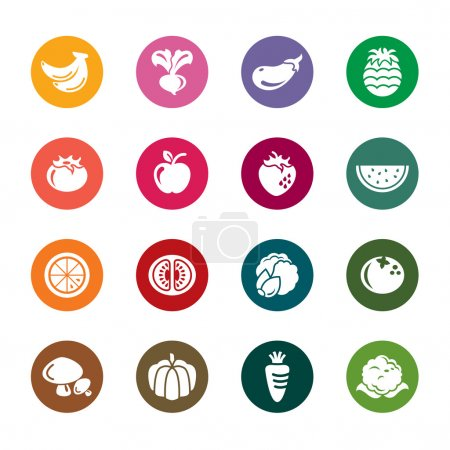 Fruit and Vegetables Color Icons