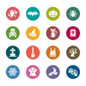 A collection of different kinds of halloween color icons