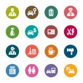 A collection of different kinds of hotel color icons