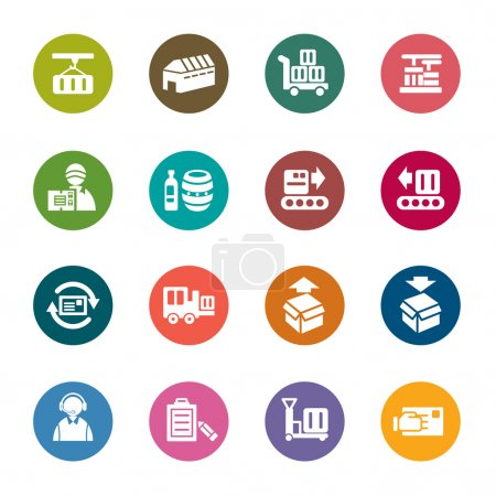 Illustration for A collection of different kinds of logistics and transport color icons - Royalty Free Image