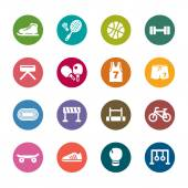 A collection of different kinds of sport color icons