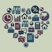Business Icons in Heart Shape