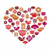 Chinese New Year Icons in Heart Shape
