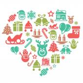 A collection of different kinds of christmas element icons in heart shape