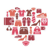 Clothing and Accessories Icons in Heart Shape