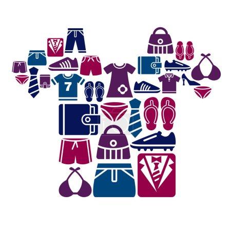 Illustration pour Une collection de différents types de vêtements et accessoires icônes en forme de chemise - image libre de droit