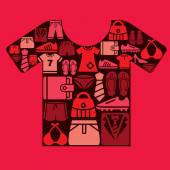 Clothing and Accessories Icons in Shirt Shape