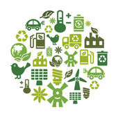 A collection of different kinds of environmental protection icons in circle shape