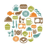 Food and Drinks Icons in Circle Shape