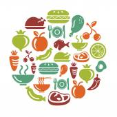 Food Fruits and Vegetables Icons in Circle Shape