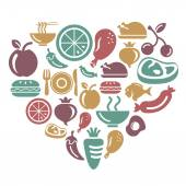 Food Fruits and Vegetables Icons in Heart Shape