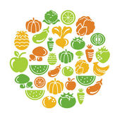 Fruit and Vegetable Icons in Circle Shape