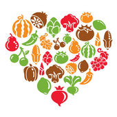 Fruit and Vegetable Icons in Heart Shape