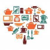 Kitchen Utensils and Appliances Icons in Heart Shape