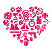 A collection of different kinds of sport competition icons in heart shape