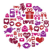 Valentines and Love Icons in Circle Shape
