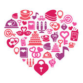 A collection of different kinds of valentines and love icons in heart shape
