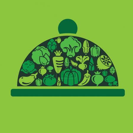 Vegetables Icons in Dish Shape