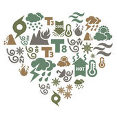 Different kinds of weather icons in heart shape