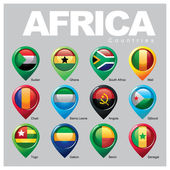 Africa countries flags in pointer icons