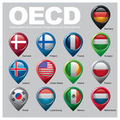 Members of the Organization for Economic Cooperation and Developments flags in pointer icons