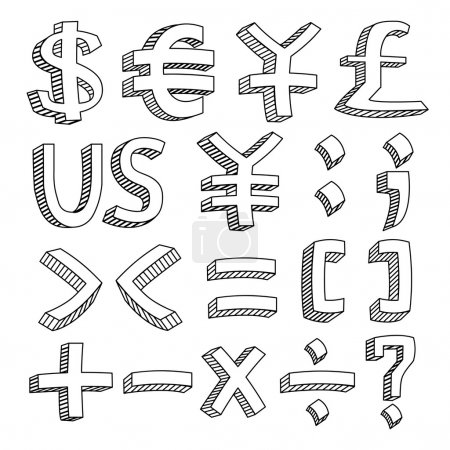 An icon set of letters and figures in sketch style...
