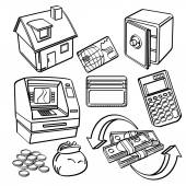 An icon set of finanical and business elements in sketch style