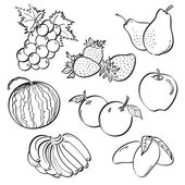 A set of sketching of vegetables isolated on a white background