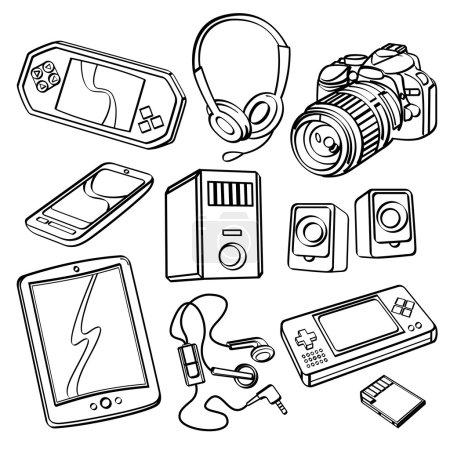 Illustration pour Différents types de produits numériques dans le style croquis - image libre de droit