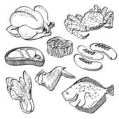 A collection of different kinds of fresh food in sketch style