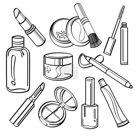 Illustration pour Différents types de produits cosmétiques dans le style croquis - image libre de droit