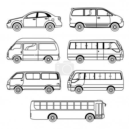 Illustration for A collection of different kinds of transportation vehicle - Royalty Free Image