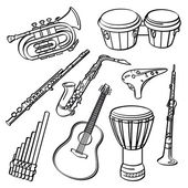 A set of sketching of music instrument isolated on a white background
