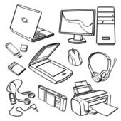 Different kinds of office equipment in sketch style